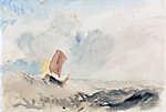 William Turner: Hullámzó tenger halászhajóval (színverzió 2) (id: 20346) vászonkép óra