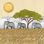 Elephant az újrahasznosított papír hátteréből (id: 6246) falikép keretezve