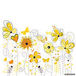 Yellow floral greeting card with decorative abstract spring flowers illustration vászonkép, poszter vagy falikép