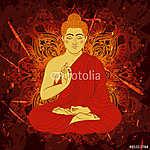 Vintage poszter ülő Buddha a grunge háttérben. áztat (id: 5647) vászonkép óra