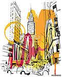 New York Sketch (id: 10348) vászonkép óra
