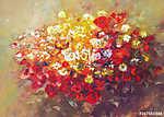 Virágcsokor, kézi festés (id: 10848) vászonkép óra
