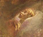 Mednyánszky László: Halott lány portréja (id: 20048) falikép keretezve