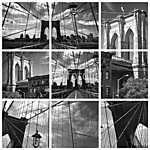 Collage Pont de Brooklyn noir et blanc - New York USA (id: 4648)