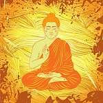 Vintage poszter ül Buddha a grunge háttérben. áztat (id: 5648) falikép keretezve