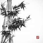Bambusz kártya sumi-e stílusban.   (id: 10549) többrészes vászonkép
