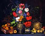 Pierre Auguste Renoir: Eredeti gouache festés papíron Gyümölcsök és virágok (id: 10649) többrészes vászonkép