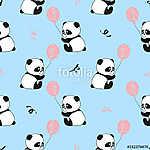 Zökkenőmentes minta aranyos panda medvékkel és léggömbökkel. Vek (id: 11349) többrészes vászonkép