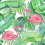 Tropical leaves and flamingo saemless pattern (id: 14649) többrészes vászonkép