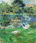 Berthe Morisot: Lányok a csónakban (id: 1949) vászonkép óra