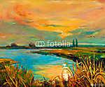 Naplementét a tó felett (id: 4449) vászonkép óra