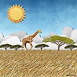 Zsiráf Safari területén újrahasznosított papír háttér (id: 6249) vászonkép óra