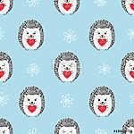 Hedgehogs szívvel varrat nélküli minta. Vektoros háttér V (id: 11350) vászonkép