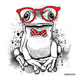 Poster with a picture of a frog wearing glasses and red tie. Vec (id: 14450) vászonkép