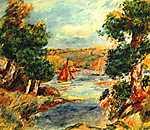 Pierre Auguste Renoir: Vitorlások Cagnes-ban (id: 1450) többrészes vászonkép