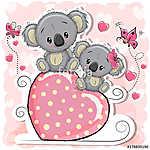 Two Koalas is sitting on a heart (id: 18950) falikép keretezve
