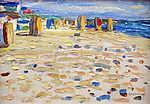 Vaszilij Kandinszkij: Napozószékek egy holland tengerparton (id: 19450) vászonkép óra