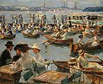 Csónakázók az Alster-folyón Hamburgnál (1910) (id: 19650) falikép keretezve