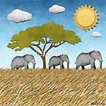 Elefánt az újrahasznosított papír hátteréből (id: 6250) többrészes vászonkép