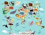 Mókás világtérkép állatokkal (id: 9250) vászonkép
