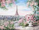 Olajfestmény, párizsi nyár. kedves városi táj. virágos rózsa (id: 10251) vászonkép óra