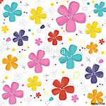 Colorful cute flowers greeting card vector  (id: 19351) többrészes vászonkép