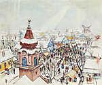 Szolnoki vásár télen (id: 19851) falikép keretezve