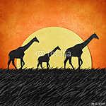 Zsiráf Safari területén újrahasznosított papír háttér (id: 6251) vászonkép óra