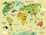 Animal map of the world for children and kids vászonkép, poszter vagy falikép