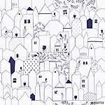 Seamless pattern. Figure cities in vintage style. (id: 14052) vászonkép