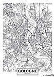 Detailed vector poster city map Cologne (id: 14252)