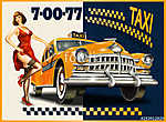 Taxi card with Pin-up girl and retro yellow taxi. (id: 19152) vászonkép