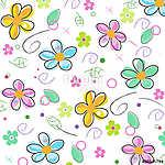 Colorful doodle spring flowers background (id: 19352) vászonkép óra
