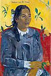 Paul Gauguin: Tahiti nő virággal (id: 3952) vászonkép