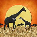 Zsiráfok a Szavannán, naplementében (id: 6252) vászonkép óra