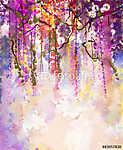 Akvarell festmény. Tavaszi lila virágok Wisteria (id: 9052) poszter