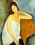 Modigliani: Jeanne Hebuterne portréja fehér hálóingben (színverzió v2) (id: 20453) poszter