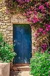 Különböző színes bejárati ajtó, virágokkal körülvéve (id: 5053) tapéta