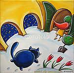 Kék macska a havas udvarban (id: 5353)