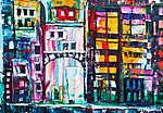 Abstract painting of city buildings (id: 16154) vászonkép