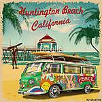 Huntington Beach,California retro poster. (id: 19154) falikép keretezve