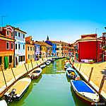 Velencei mérföldkő, Burano sziget-csatorna, színes házak és csón (id: 5154) vászonkép