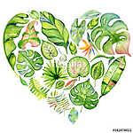 Watercolor tropical leaves frame (id: 14755) vászonkép