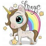 Cute Unicorn and a rainbow isolated on a white background (id: 18755) poszter