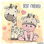 Cute Cartoon Baby and giraffe (id: 19055) vászonkép óra