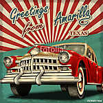 Vintage touristic greeting card with retro car.Amarillo.Texas. (id: 19155)