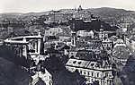 Gellérthegy kilátás a Tabánra, előtérben a Szent Gellért szobor, háttérben a Királyi Palota (1938) (id: 20155) vászonkép óra