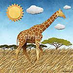 Zsiráf a Safari területén újrahasznosított papír háttérben (id: 6255) többrészes vászonkép