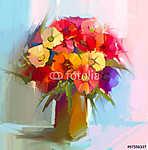 Absztrakt művészeti olajfestmény tavaszi virág. Művészi csendéle (id: 9055) vászonkép óra