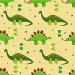Aranyos dinoszauruszok zökkenőmentes mintázata. Vektoros háttér  (id: 11356) többrészes vászonkép
